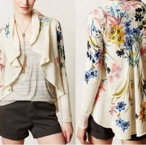 Anthro knitted&knotted ivory floral knit cardigan